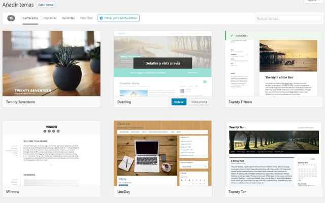 Bluehost iniciar un blog paso a paso busqueda de tema