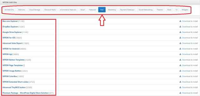 Wordpress download manager add ons