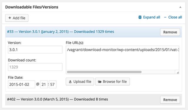 Wordpress download monitor versiones