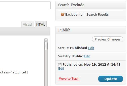 Wordpress excluir resultados de busqueda plugin