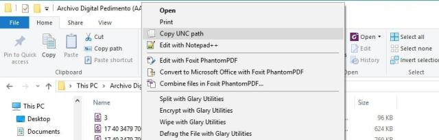 Copy unc path 2 1 menu contextual