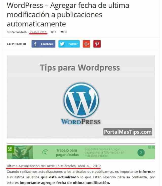 Wp last modified plugin ejemplo