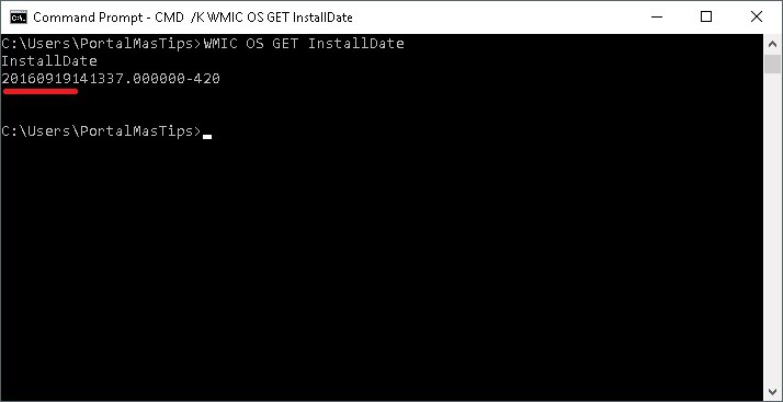 Windows wmic cmd para determinar cuando se instalo windows