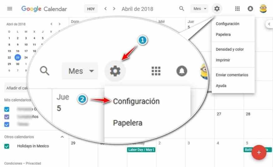 Calendario Google menu configuracion