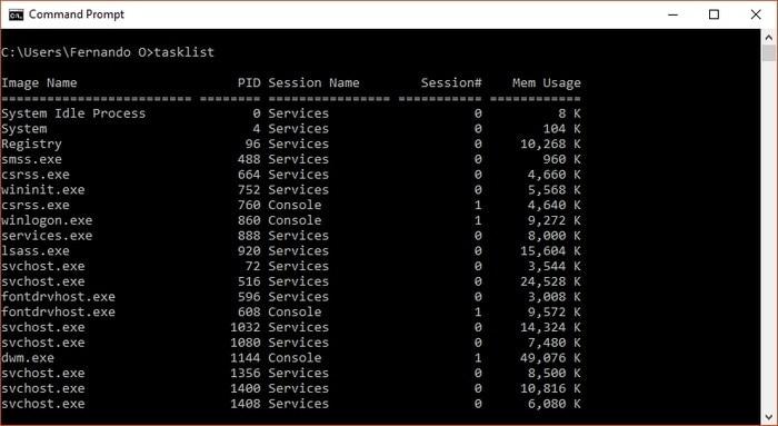 Listado de procesos obtenidos con Tasklist