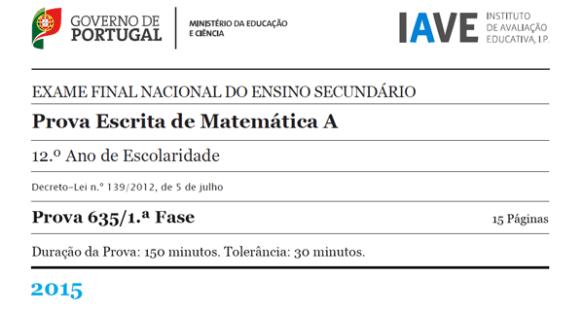 12Ano - Exame Matemática A - 1ª Fase - 23 junho 2015