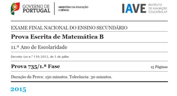 11Ano - Exame Matemática B - 1ª Fase - 23 junho 2015
