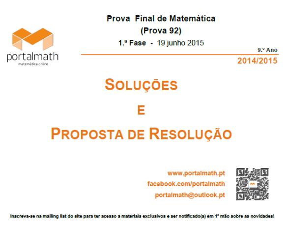 9Ano - Prova Final de Matemática - Soluções e Resolução - 19 junho 2015