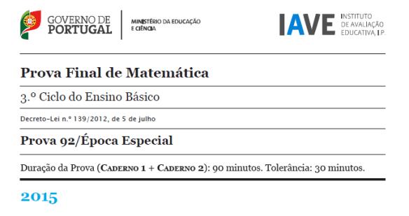 9Ano - Prova Final Matemática - Época Especial 2015