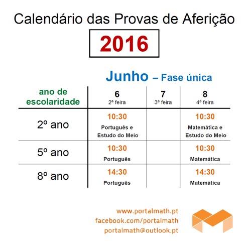 calendário provas aferição 2016