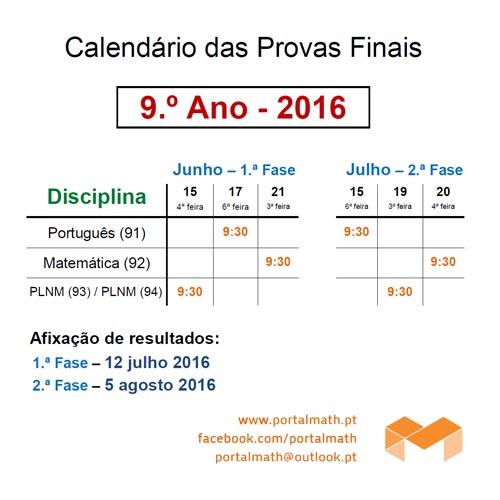 9Ano - Calendário Provas Finais 2016 Informações Provas