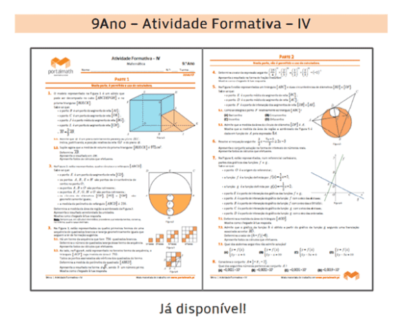 Atividade Formativa IV Matemática Exame Prova Final Preparação Ficha de Trabalho Exercícios 9Ano 9º ano