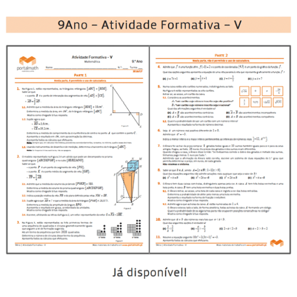 Atividade Formativa 9Ano 9º ano Matemática Exame Ficha de Trabalho Preparação Exame