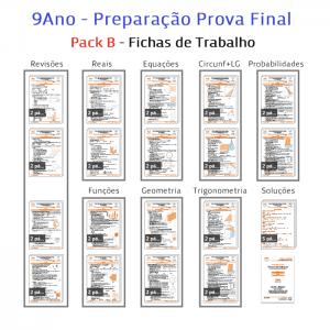 Pack B Matemática 9º ano Preparação Prova Final Novo Programa Fichas de Trabalho Exercícios