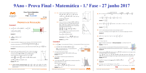 9º ano Matemática Prova Final 27 junho 2017 resolução soluções exame