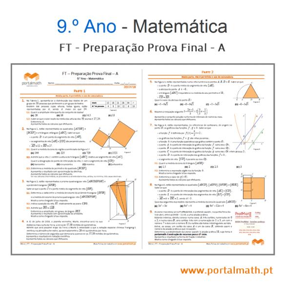 FT Prep Prova Final - A portalmath matemática preparação prova final aferição Packs 2018 exercícios fichas de trabalho provas modelo com calculadora sem calculadora