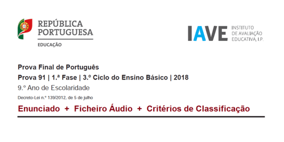 9Ano Prova Final Exame Português 1ª Fase 2018 22 junho portalmath