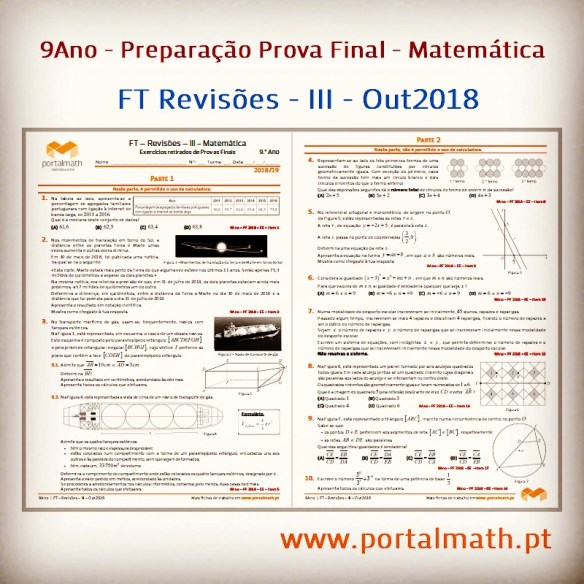 portalmath FT Revisões III Out2018 Preparação Prova Final Matemática 9º ano