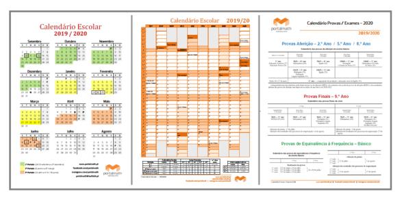 Calendário Escolar 2019/20 portalmath provas e exames 2020