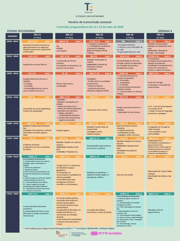 Semana 4 - 11 a 15 de maio - Telensino - RTP Madeira