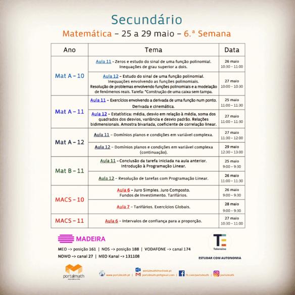 Telensino Secundário 6 25 a 29 maio Matemática A B MACS portalmath RTP Madeira