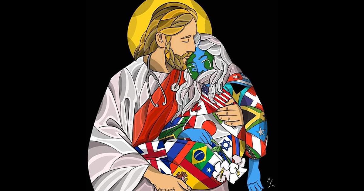 Imagem que viralizou representa Jesus sustentando a humanidade doente
