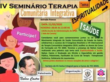 IV Seminário de Terapias comunitárias integrativas acontece em Salvador dia 21/03