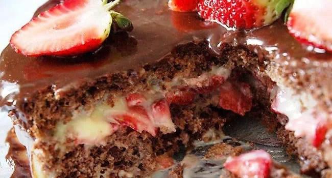 receita naked cake de morango