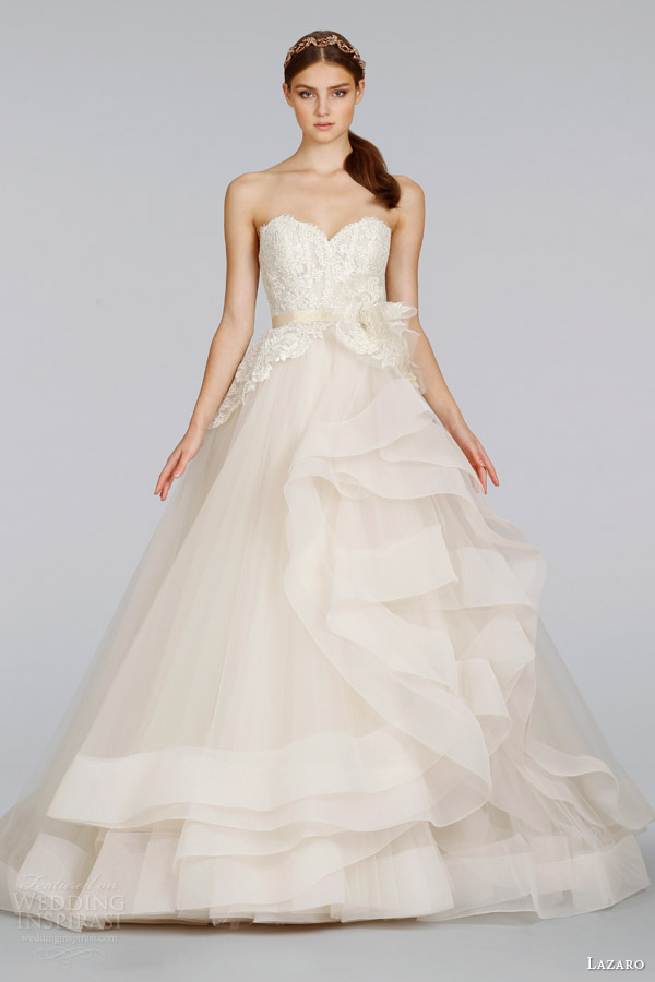 lazaro-bridal-wedding-dresses-spring-2014-champagne-tulle-strapless-ball-gown-style-3413