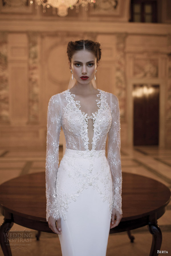 berta-bridal-gowns-2014-long-illusion-sleeve-dress-close-up