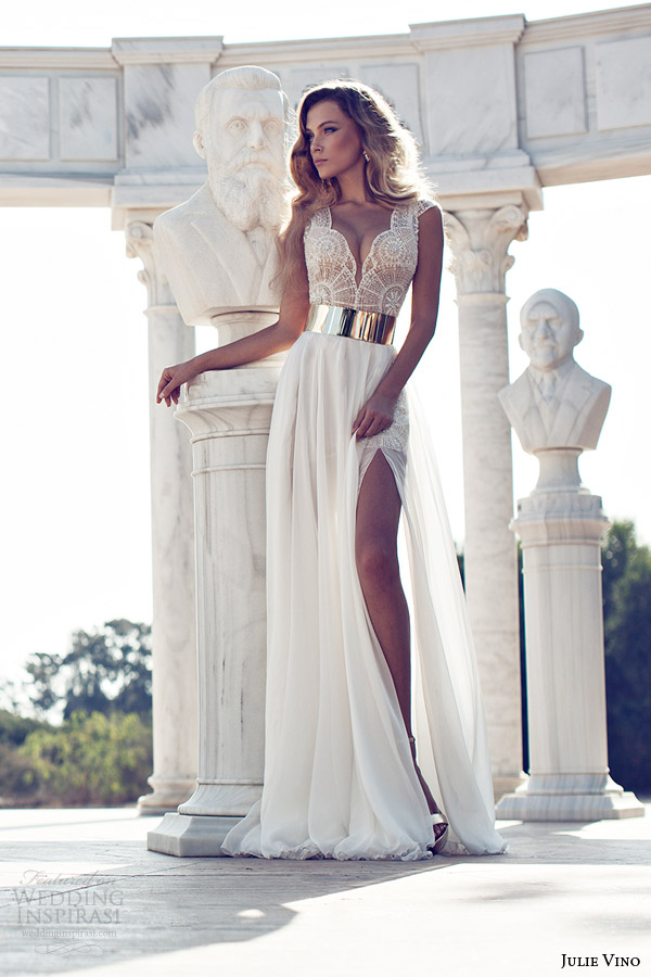 julie-vino-fall-2014-cap-sleeve-wedding-dress-thigh-high-slit