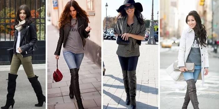 A duplinha perfeita: jeans e botas acima do joelho