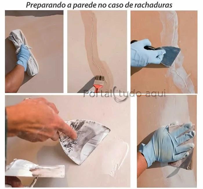 preparando a parede com rachaduras