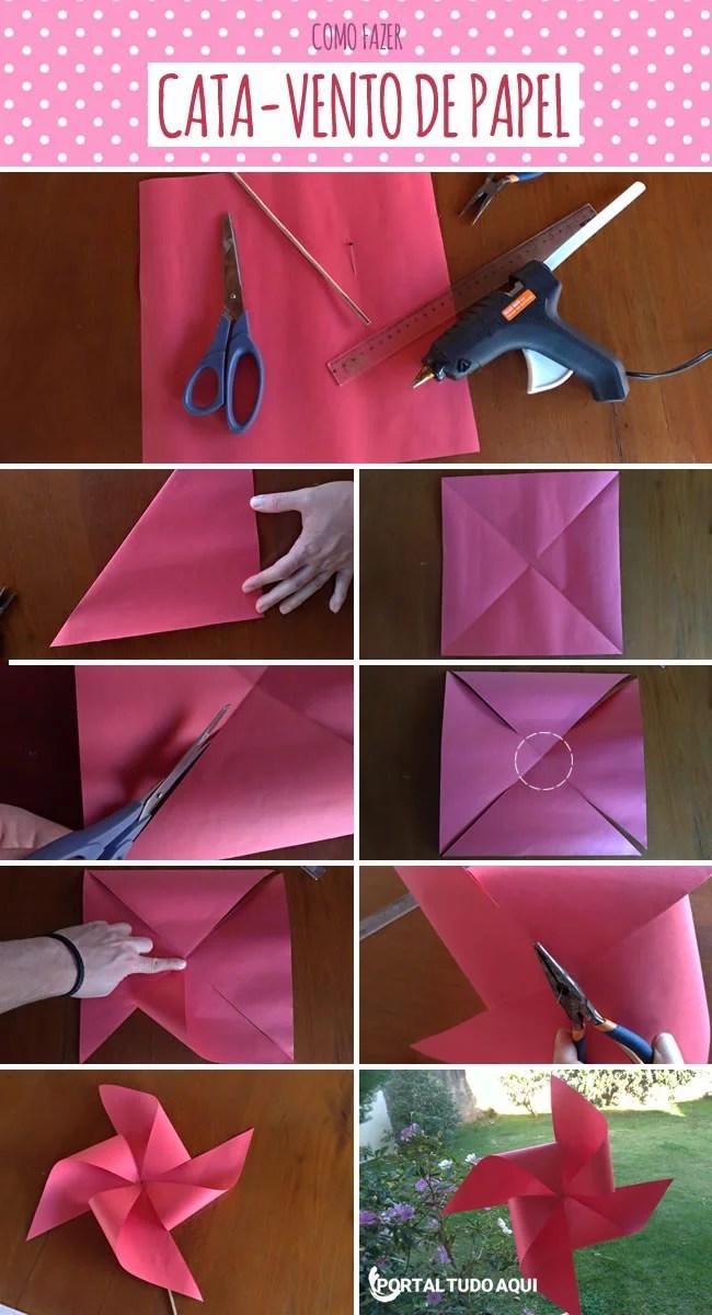 Como fazer cata-vento de papel passo a passo.