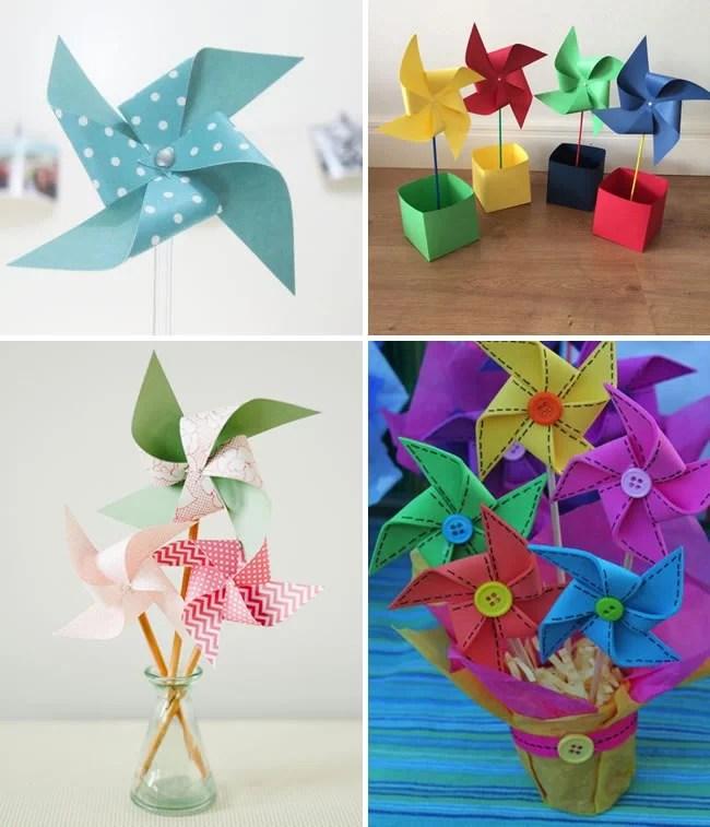 Cata-ventos coloridos dentro de potinhos para decorar as mesas das festas.