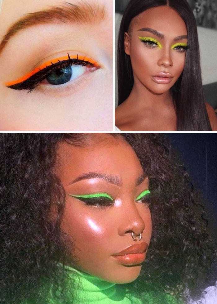 Maquiagem nos olhos com delineador colorido néon.