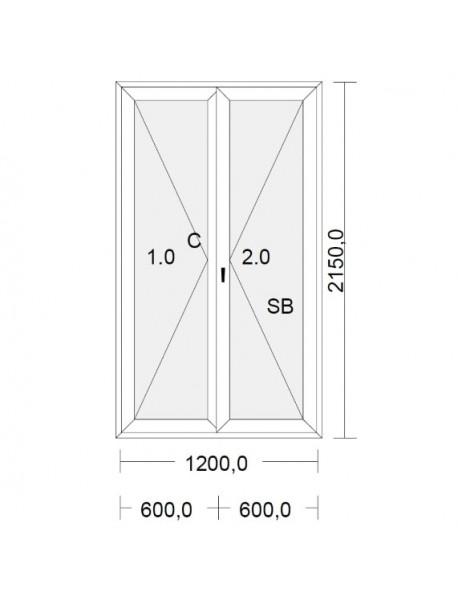 porte fenetre pvc blanche pour tableau 215 x 120 cm