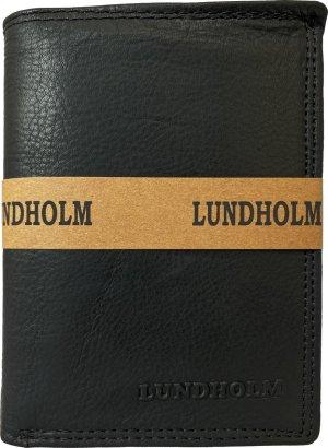 Lundholm leren heren portemonnee heren leer zwart - staand model met RFID anti skimming - luxe heren portemonnee billfold