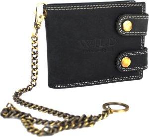 Portemonnee Heren Wild leder zwart 11.5 x 2 x 9 cm (RS400W-6) -