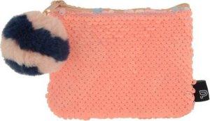 Kangaro Tasje PalmsΠzza - Roze - Portemonnee met pailetten - Rits en pompom - 12,5x9 cm