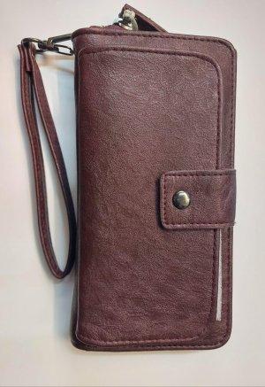 Bags And Wallets - Dames Portemonnee - Met Telefoonvakje - Clutch - Afneembare Polsband - Wijnrood - 8 pasjes