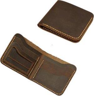 CoshX® Portemonnee bruin leer handgemaakt retro vintage look met stiksels