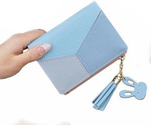 Dames Portemonnee Compact   Mini Wallet Portefeuille   Mini Portefeuille   Elegant   Kunstleer   GRATIS verzending   Blauw