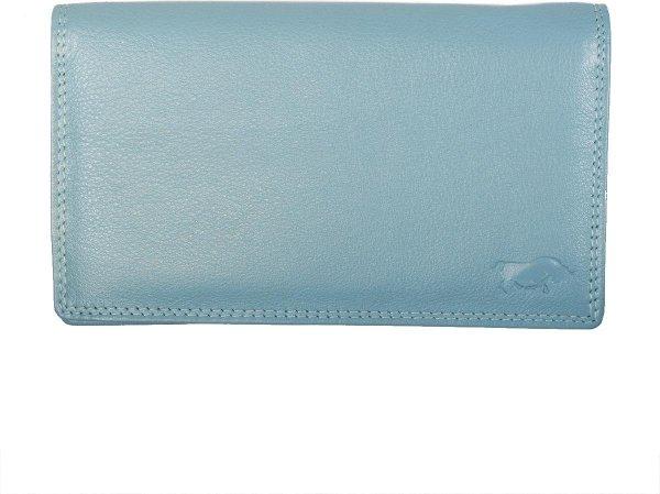 Dames Portemonnee RFID In Lichtblauw Leer - Grote Dames Portemonnee Anti-Skimming Met Dubbele Klep