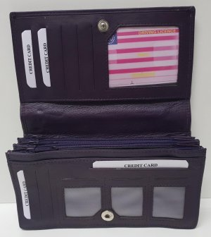 Dames overslag Harmonica - Huishoudportemonnee XXL New Purple