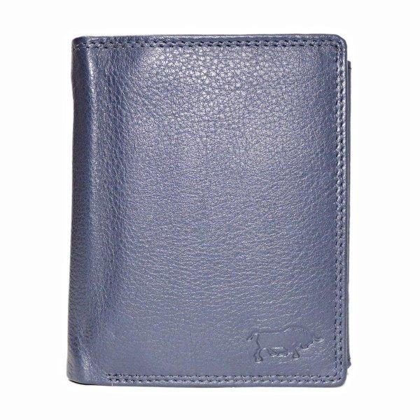 Donkerblauwe Euro Portemonnee Leer - Compact Leren Portemonnee Donkerblauw