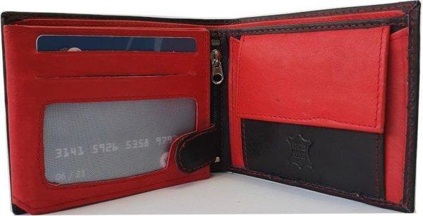 Herenportemonnee Echt Leer Zwart met Rood - Compacte Portemonnee - Echt Leer - Heren Portemonnee Leder - Cadeau voor Man - Billfold Model