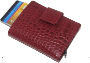 Leather Design - Billfold & Figuretta cardprotector & ritssluiting vak - croco red