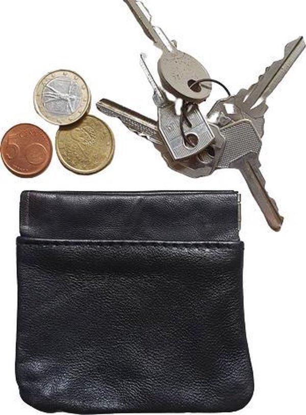 Leren Sleuteletui Zwart Knijp - Sleutelmapje - Portemonnee - Kleingeldmapje - Sleuteltasje