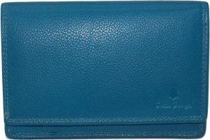 Leren - harmonica portemonnee- 14 pasjes -Zeeblauw